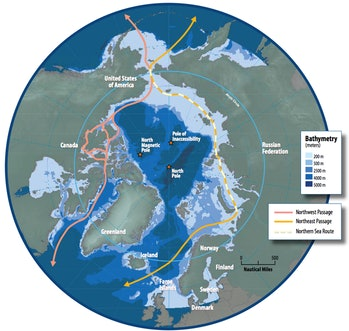 Map of the Arctic region showing the the Northern Sea Route and Northwest Passage.