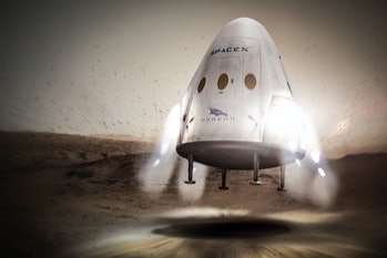 An artist's rendering of the SpaceX Crew Dragon touching down on Mars. First, it has to go to the ISS.