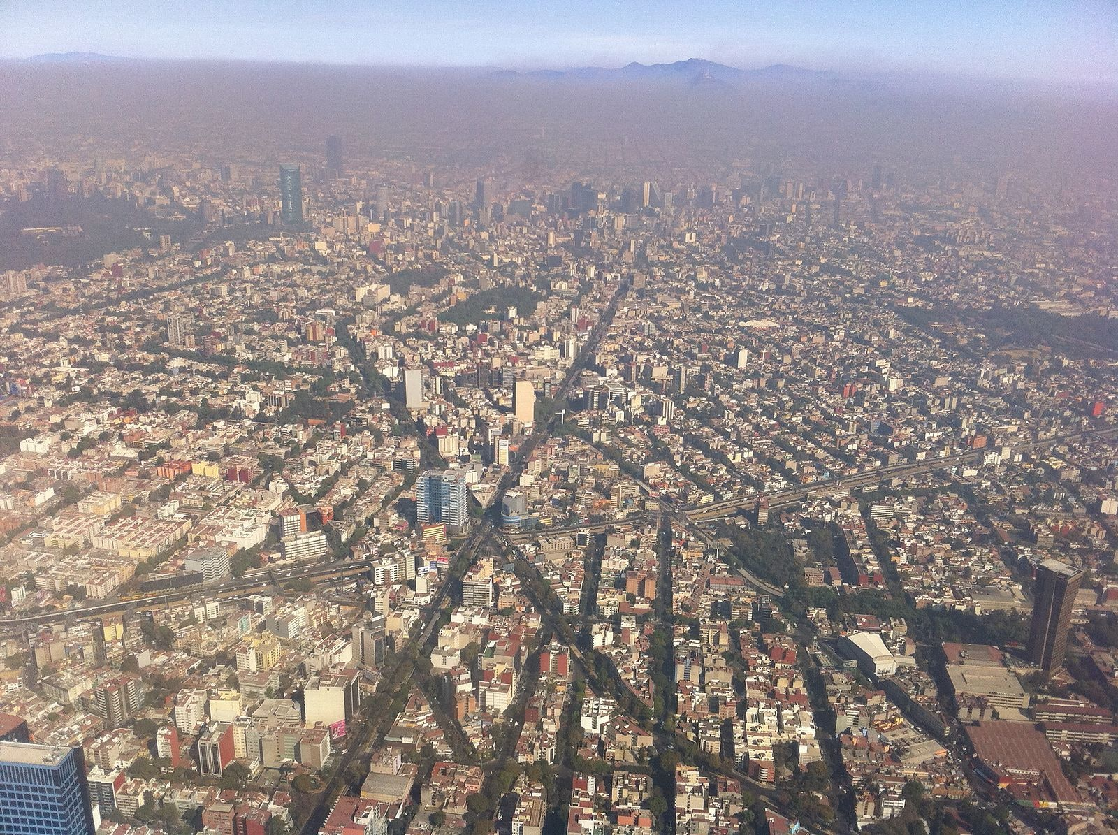 Mexico City aerial view streets construction parking crisis transportation