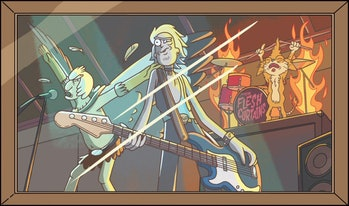 Rick Sanchez used to play guitar in a band called The Flesh Curtains with Squanchy and Birdperson.