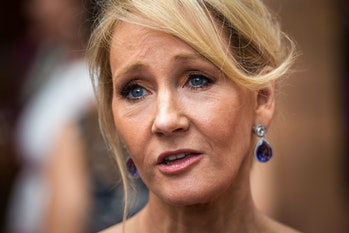 J. K. Rowling attends the press preview of 'Harry Potter & The Cursed Child' at Palace Theatre on July 30, 2016 in London, England. Harry Potter and the Cursed Child, is a two-part West End stage play written by Jack Thorne based on an original new story by Thorne, J.K. Rowling and John Tiffany.