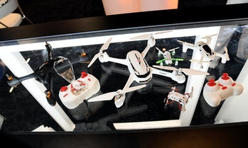 Drones on display at InterDrone, an international droneconferenceon September 8,2016in Las Vegas, Nevada.