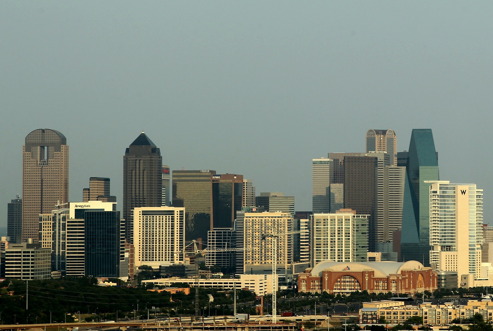 DALLAS, TX - JUNE 07: A general view of the skyline of downtown Dallas, Texas as the American Airlines Center can be seen before Game Four of the 2011 NBA Finals on June 7, 2011 in Dallas, Texas. NOTE TO USER: User expressly acknowledges and agrees that, by downloading and/or using this Photograph, user is consenting to the terms and conditions of the Getty Images License Agreement (Photo by Mike Ehrmann/Getty Images)