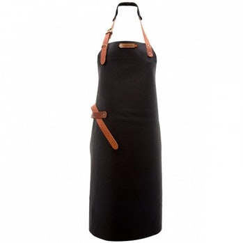 A black and brown leather apron.