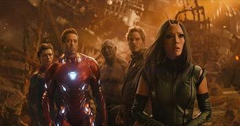 Tom Holland, Robert Downey Jr, Dave Bautista, Chris Pratt, and Pom Klementieff in Avengers: Infinity War