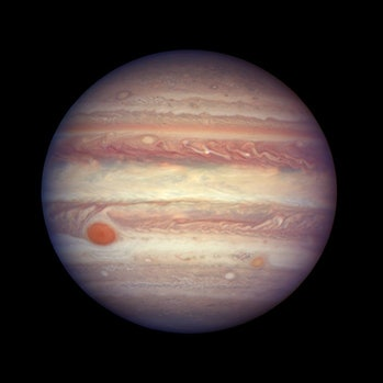 Jupiter is at its brightest when it's in opposition. It was a few days from opposition when Hubble captured this image.