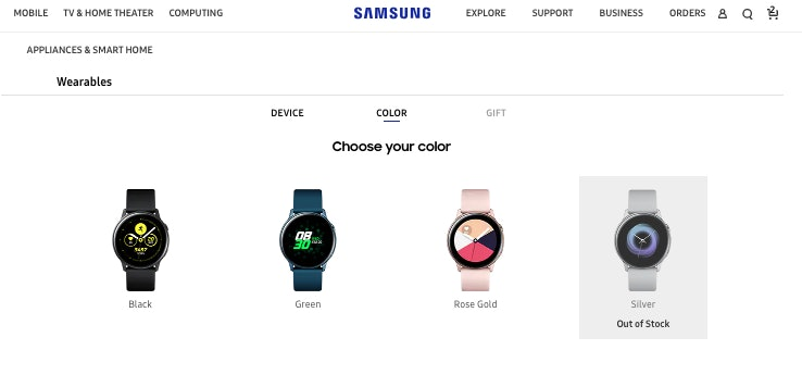 samsung galaxy watch active color options