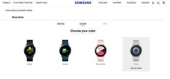 samsung galaxy watch active color options