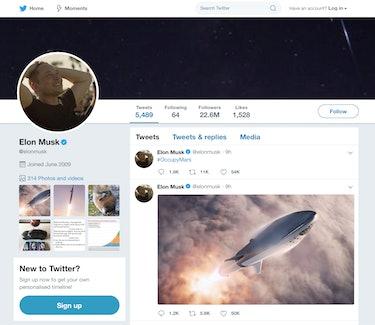 Elon Musk's Twitter page.