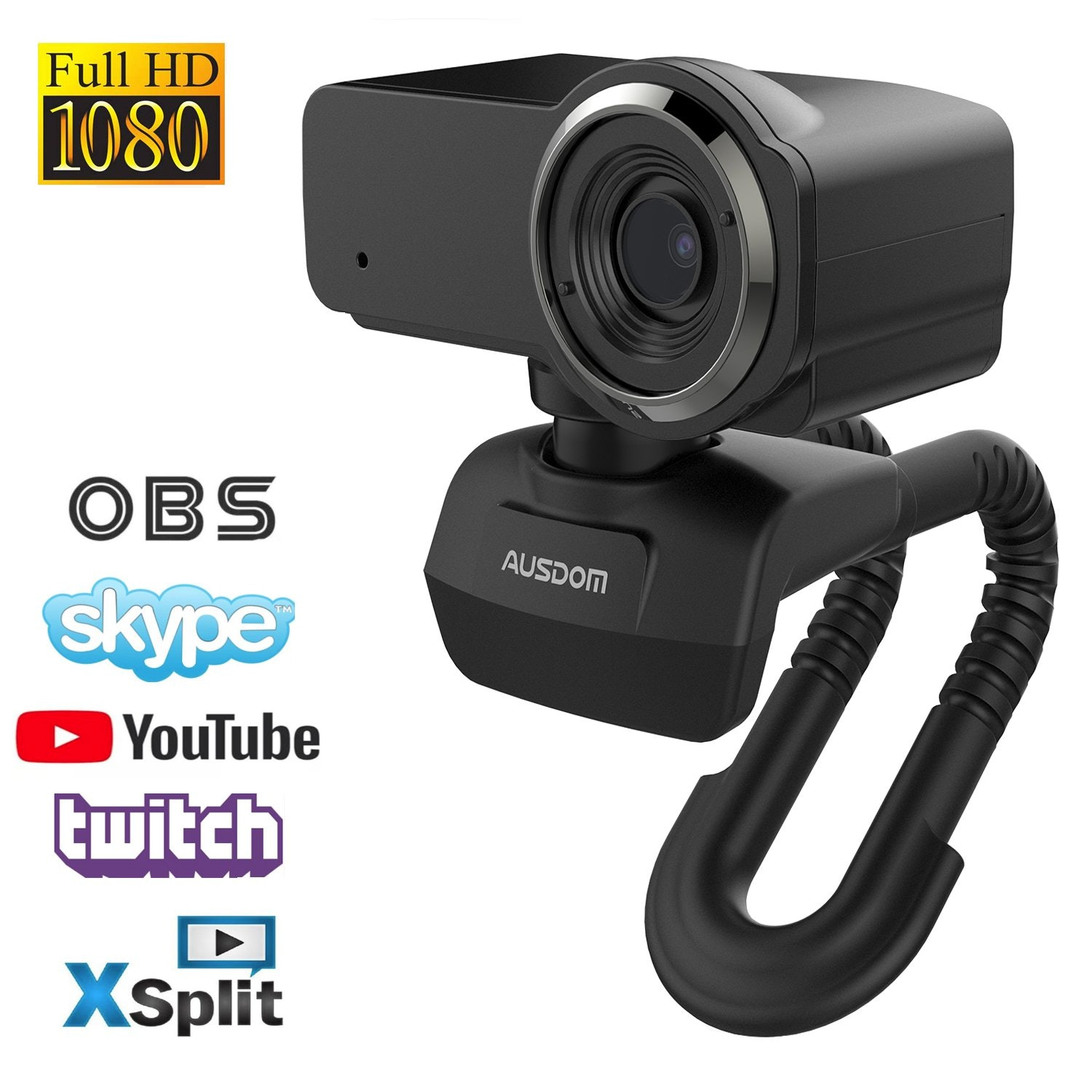 Ausdom Full HD Laptop Webcam, 1080P Streaming Web Camera with Built-in Stereo Microphone, Widescreen Video Calling and Recording Desktop or PC USB Camera for YouTube Xsplit Mixer Skype Twitch OBS
