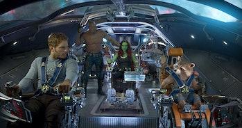 Chris Pratt, Dave Bautista, Zoe Saldana, Vin Diesel, and Bradley Cooper in Guardians of the Galaxy Vol. 2