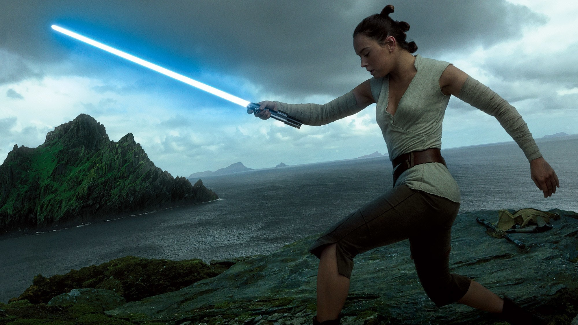 Rey will definitely wield the Skywalker saber for at least some of 'The Last Jedi.'