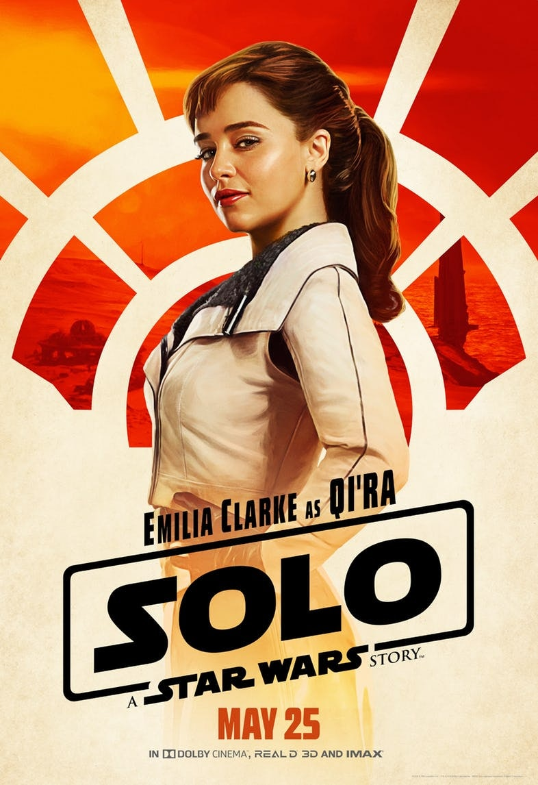 Emilia Clarke as Qi'ra in 'Solo: A Star Wars Story'.