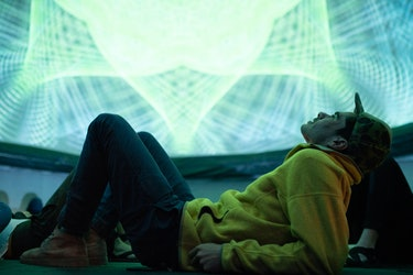 Cyrus Sutton inside the geodesic dome