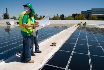 Solar energy Walmart installation rooftop photovoltaic panels corporate green energy