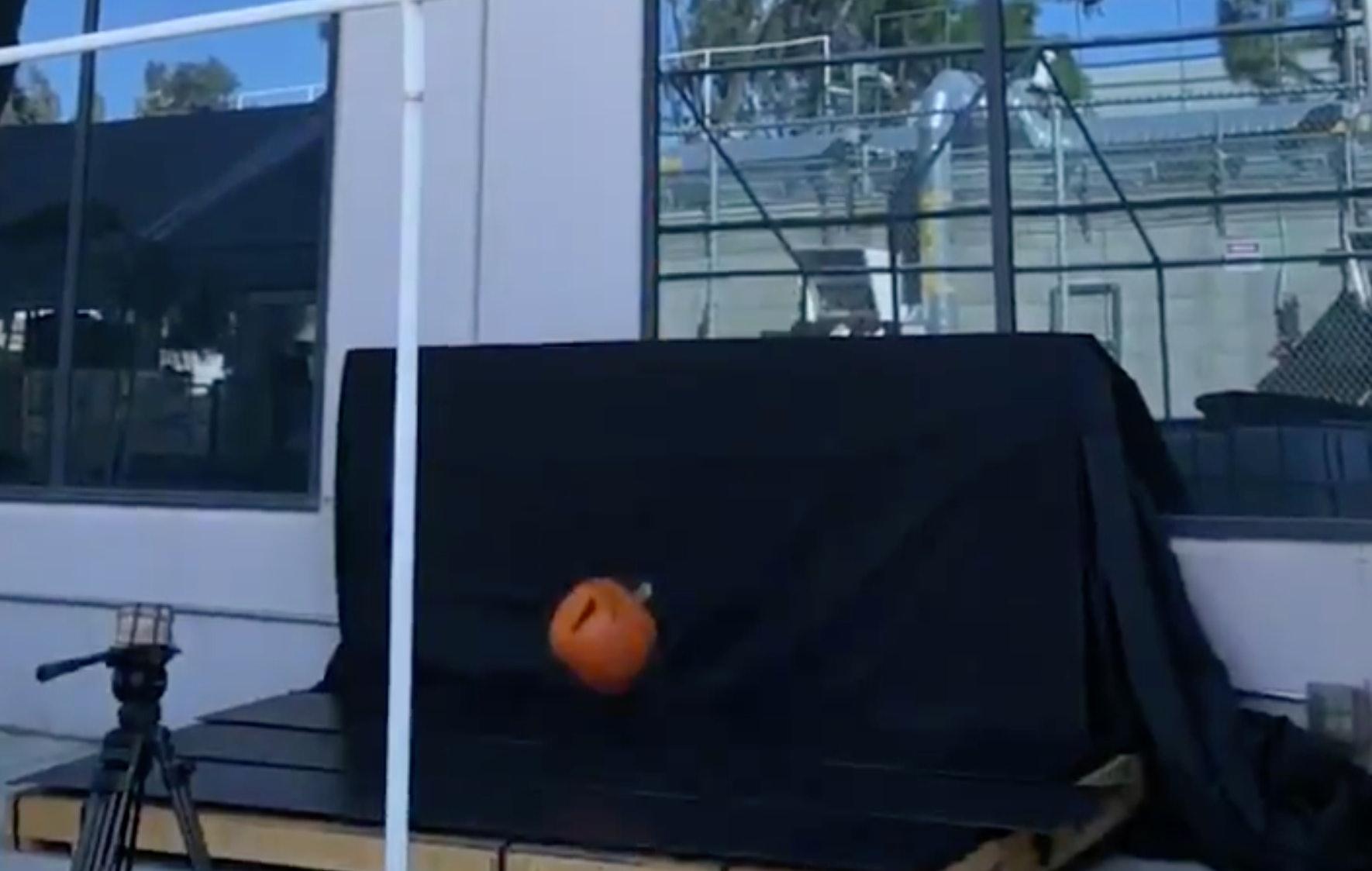 Dropping a pumpkin onto Tesla Solar Roof.
