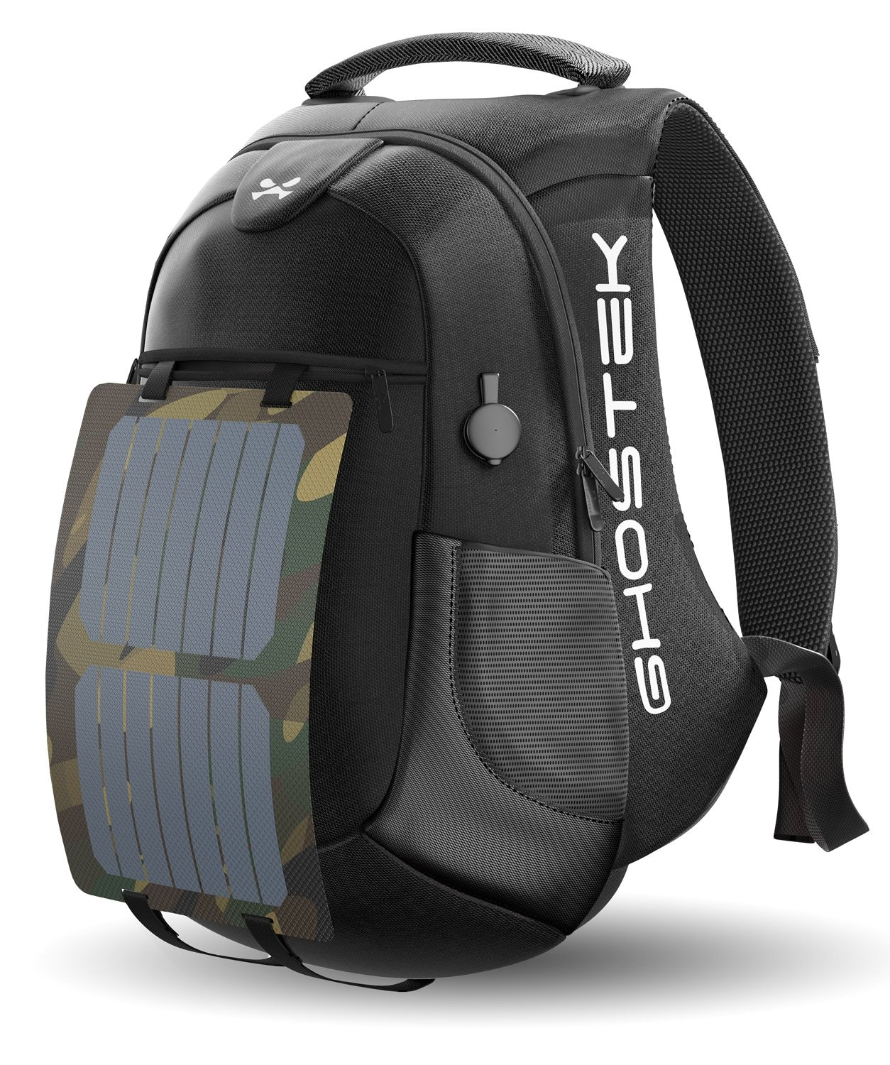 """Ghostek NRGsolar Series 40L Eco Computer Laptop Messenger Backpack Book Bag + 16,000mAh Power Bank with 5 USB Ports   Water Resistant   8.8-Watt Solar Panel   Laptops Up To 15.6"""" (Black)"""