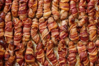 bacon-wrapped sausage