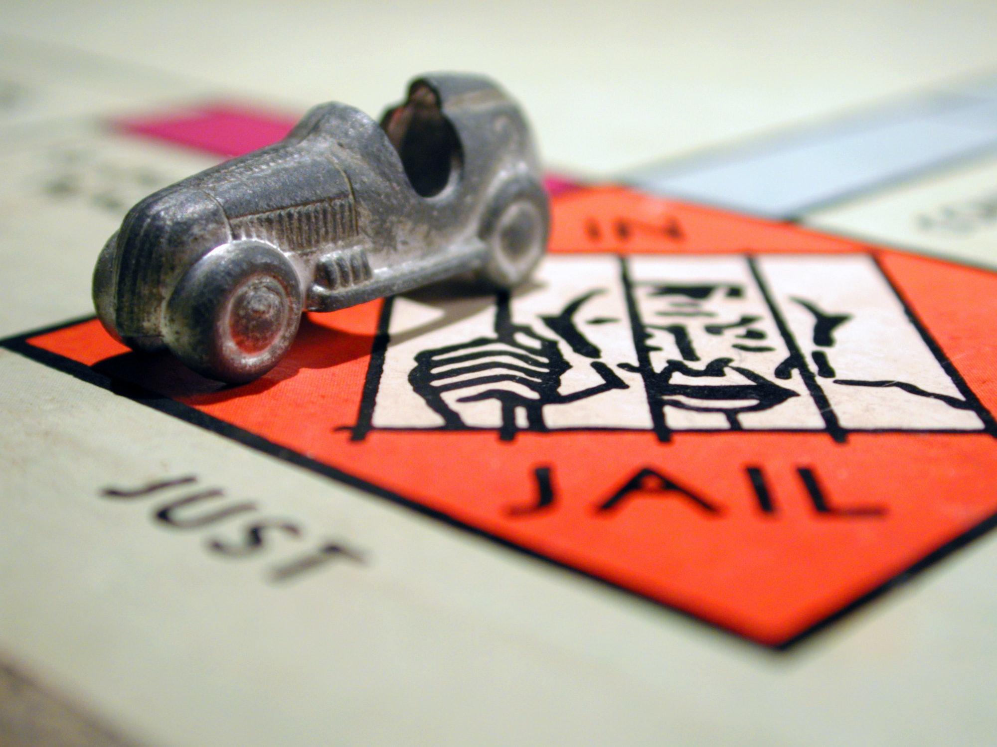 monopoly jail just visiting board game car