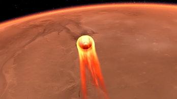 Insight descends to Mars, artist mockup