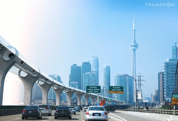 TransPod concept art of a hyperloop in Toronto.