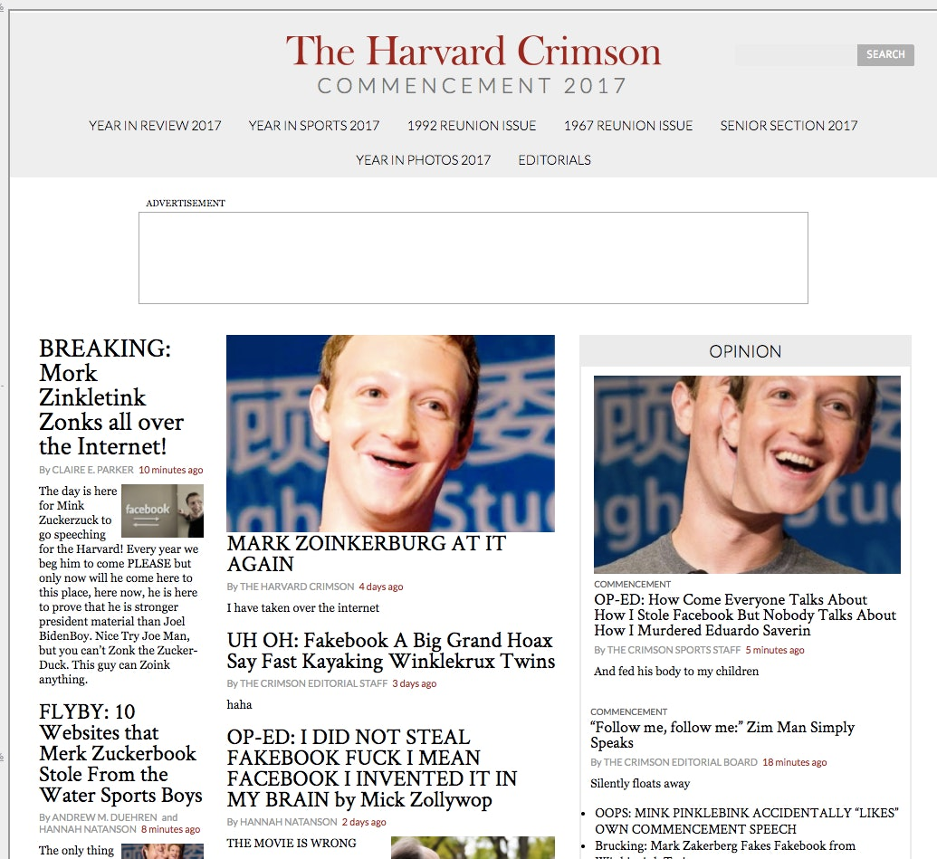 Harvard Crimson website hacked ahead of Mark Zuckerberg commencement speech.