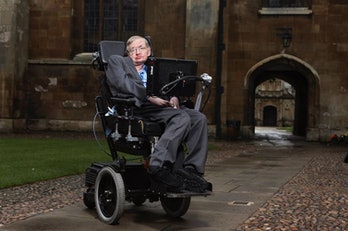 Hawking at the University of Cambridge.