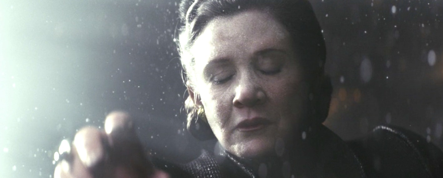 Leia in the vacuum of space in 'The Last Jedi'.
