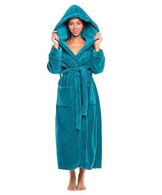 Alexander Del Rossa Women's Plush Fleece Robe with Hood, Warm