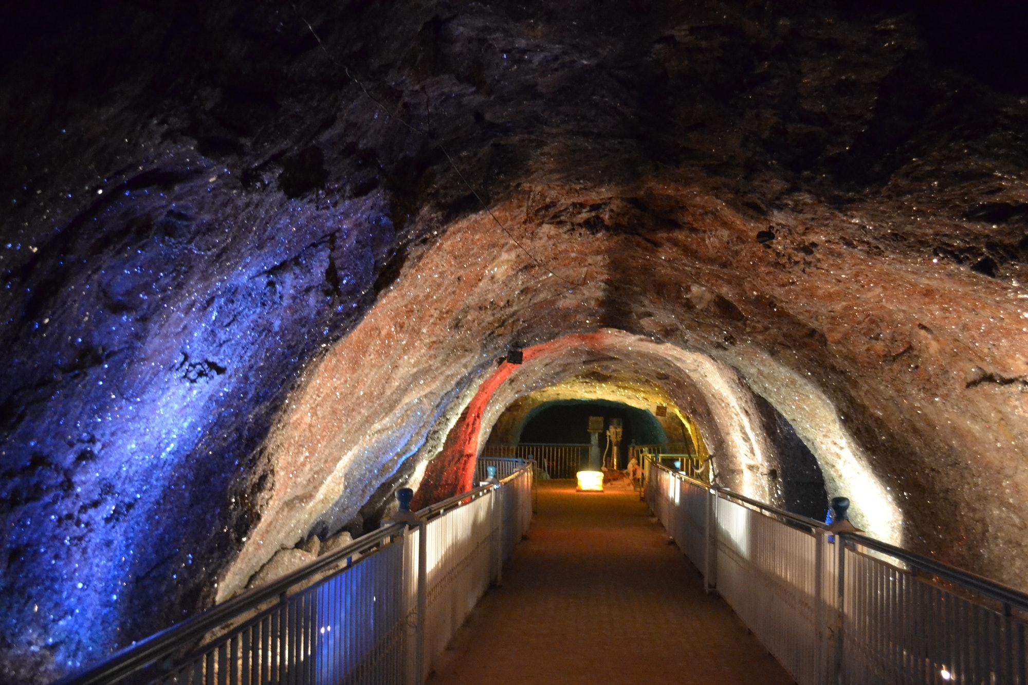 Khewra Salt Mine - Crystal Deposits on the mine walls