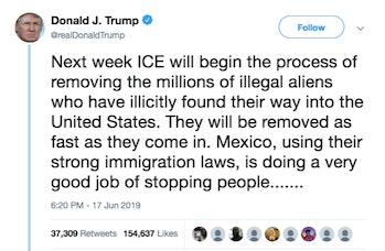 tweet, Trump, immigration