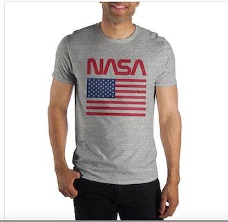 American Flag NASA Gray Men's Tee Shirt