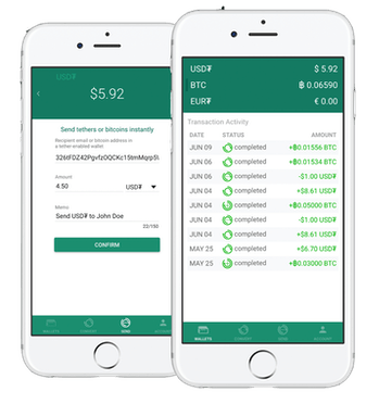 Tether's mobile app in action.