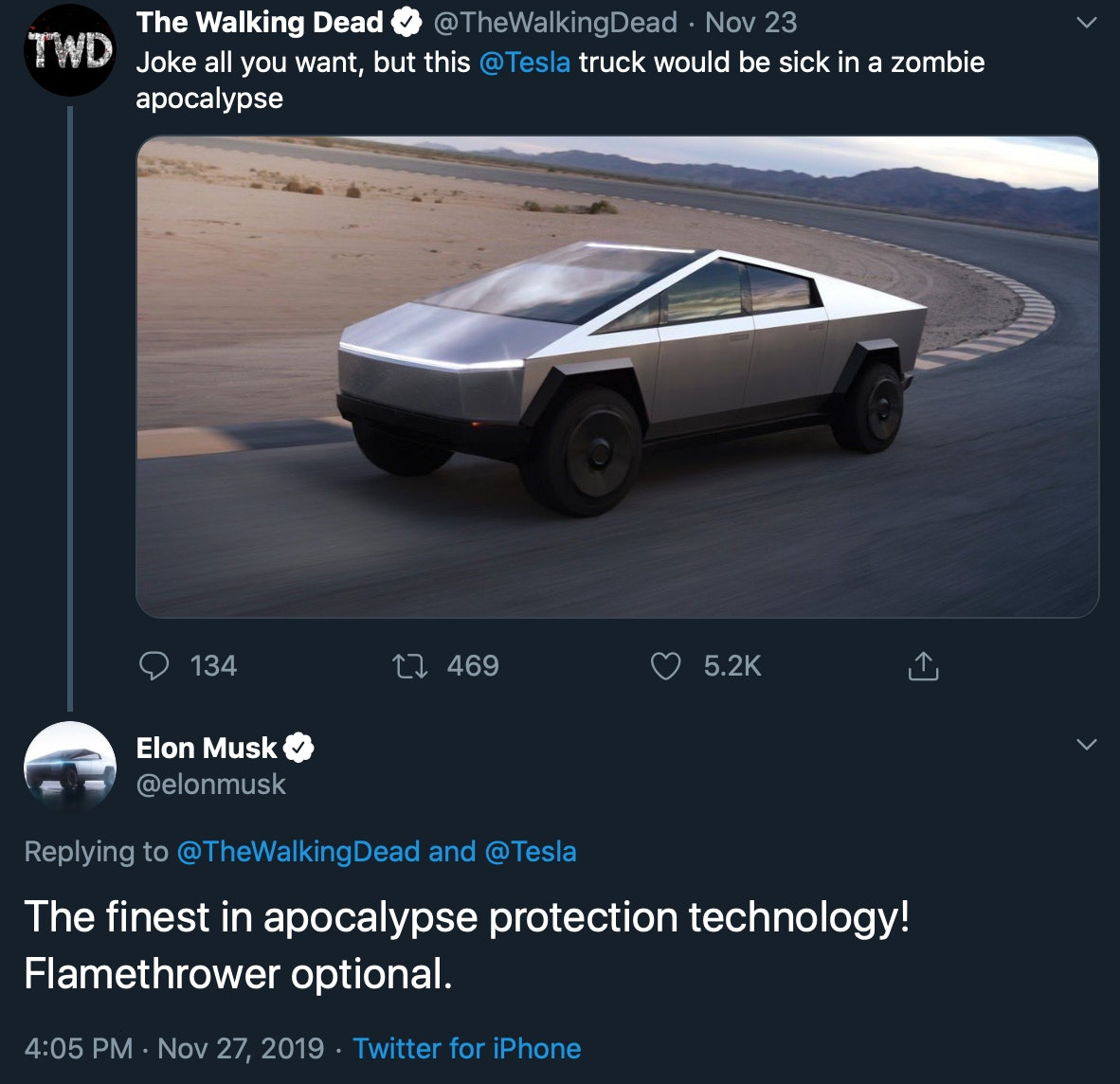 The Walking Dead comes out in favor of the Tesla Cybertruck.