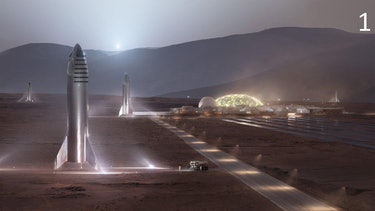 SpaceX's Starship, parked on a future Mars colony as envisioned by SpaceX CEO Elon Musk.
