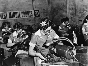 Women working in a factory during World War 2, when the U.S economy became totally focused on winning the war.