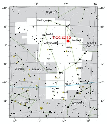 Star chart showing the location of the merging galaxy NGC 6240, in the constellation Ophiuchus. NGC 6240 is located about 400 light-years away from Earth.