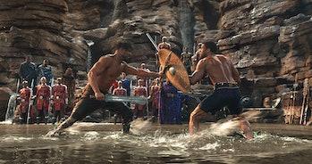Killmonger (Michael B. Jordan) and T'Challa (Chadwick Boseman) in Disney/Marvel's 'Black Panther'