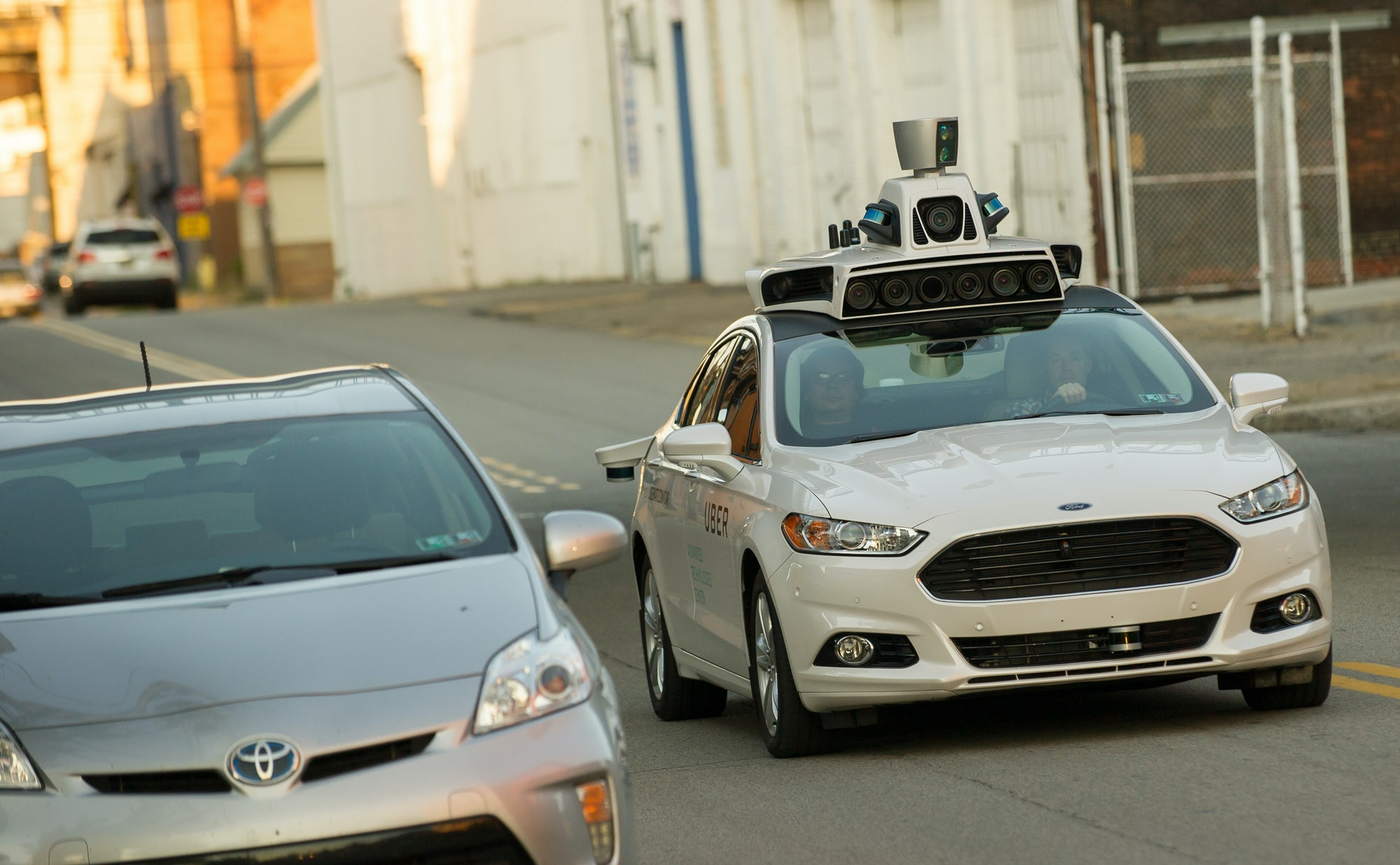 A self-driving Uber Ford Fusion in Pittsburgh.