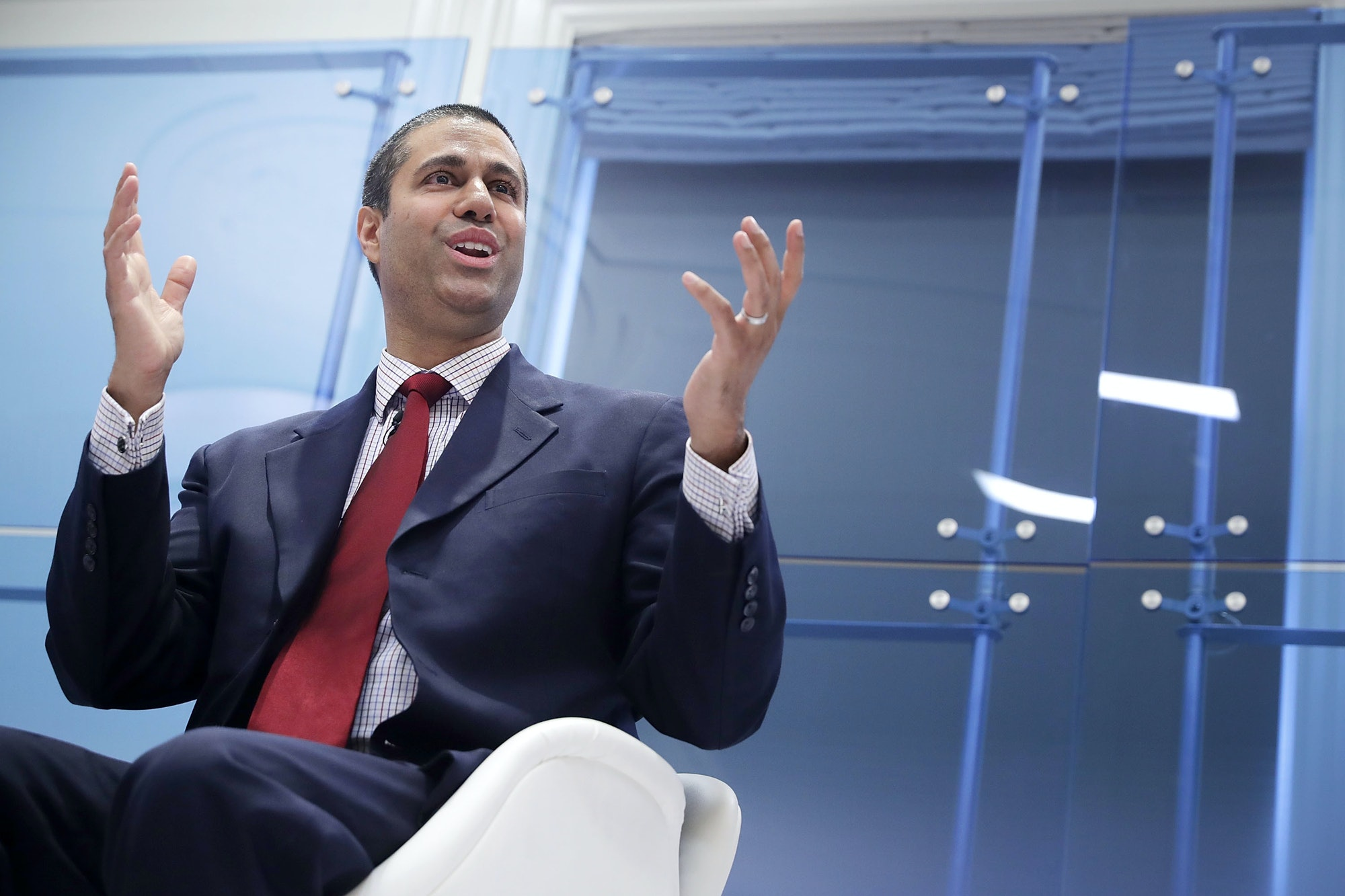WASHINGTON, DC - MAY 05: Federal Communication Commission Chairman Ajit Pai participates in a discussion about his accomplishments at The American Enterprise Institute for Public Policy Research May 5,2017in Washington, DC. Appointed to the commission by President Barack Obama in 2012, Pai was elevated to the chairmanship of the FCC by U.S. President Donald Trump in January. (Photo by Chip Somodevilla/Getty Images)