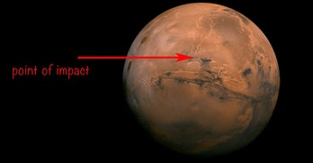 The asteroid impact took place in the Valles Marineris region, which sits near the Martian equator.
