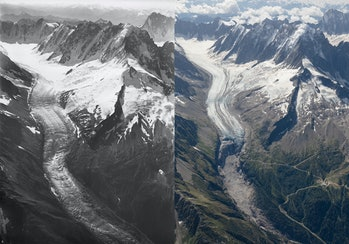 two photos of the same glacier, the right one has less ice