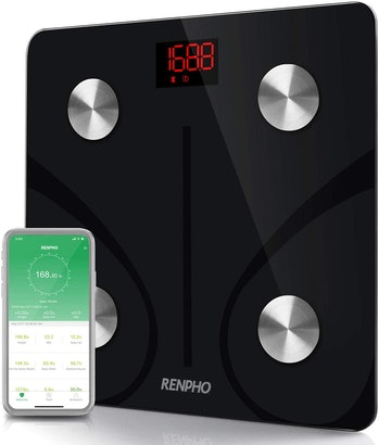 RENPHO Bluetooth Body Fat Scale Smart BMI Scale Digital Bathroom Wireless Weight Scale, Body Weight Scale with Smartphone App 396 lbs digital weight scale - Black
