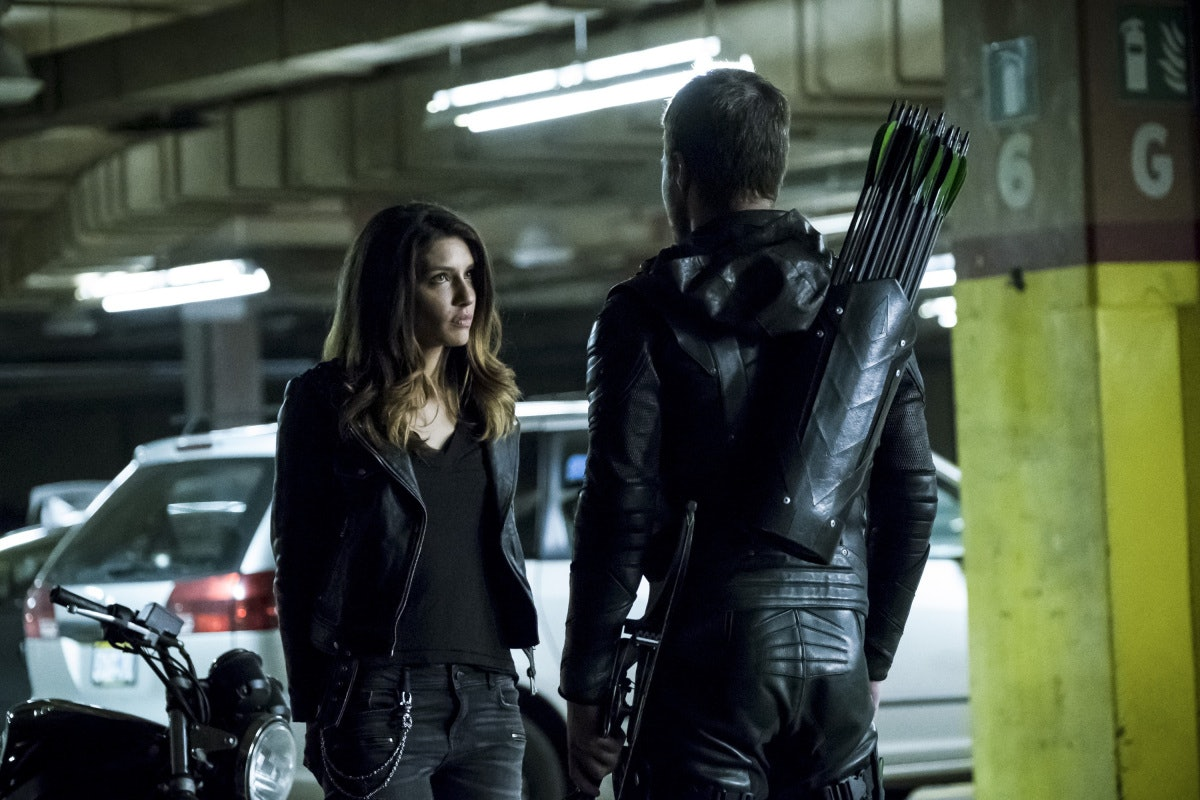 Juliana Harkavy as Dinah Drake and Stephen Amell as Oliver Queen on 'Arrow'