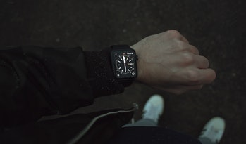 The Apple Watch displaying the time.