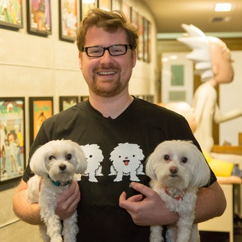 Justin Roiland with his two dogs, Jerry and Pup Pup.