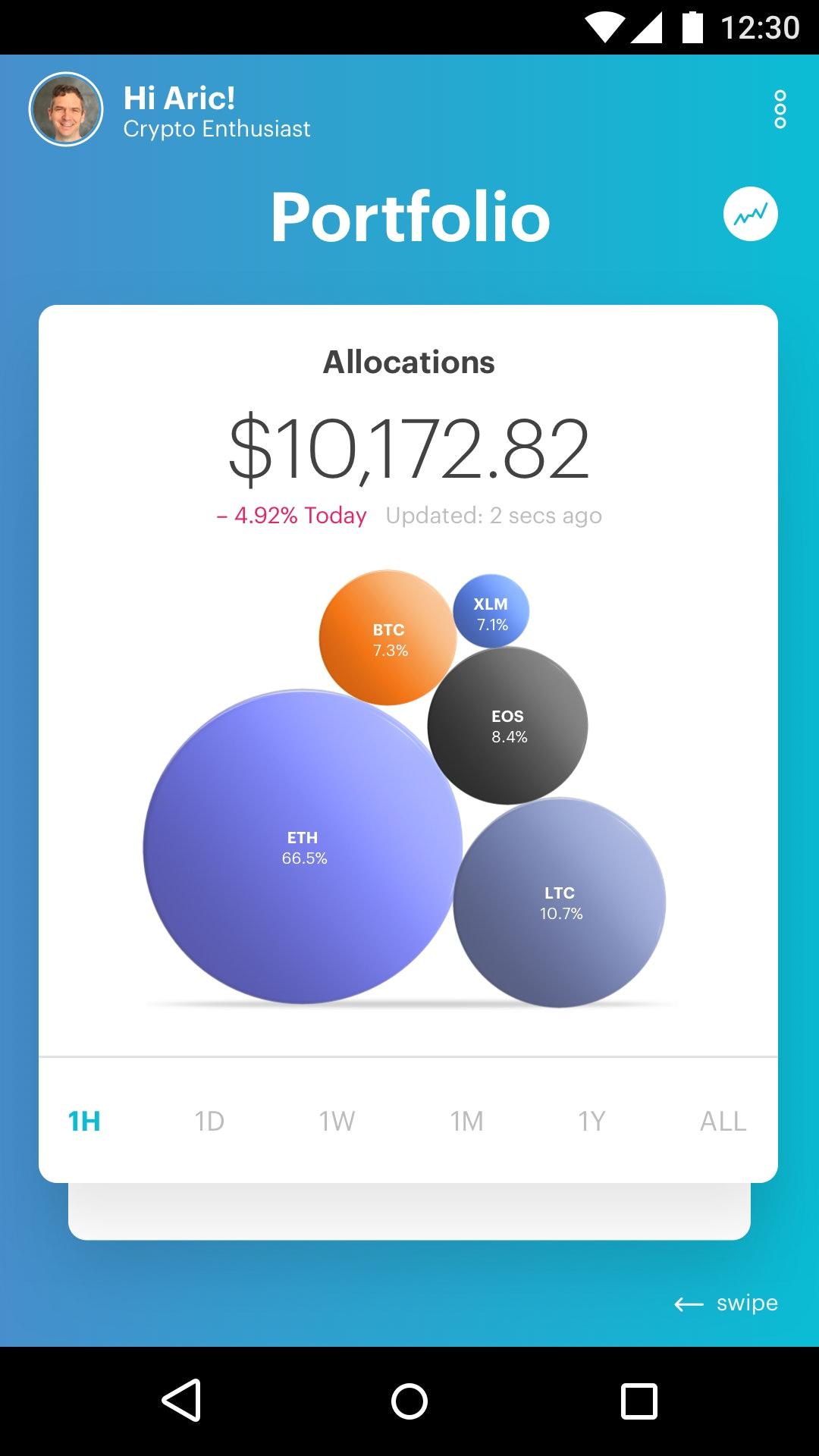 Portfolio allocation screen.