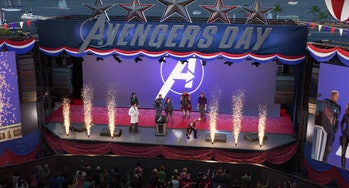 Still from cinematic trailer for 'Marvel's Avengers: A-Day' shown at E3