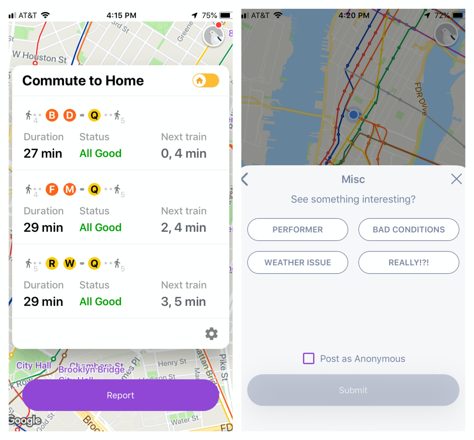 "On the left, an example of Pigeon's commute interface. On the right, an example of how to pick a ""miscellaneous"" reason for filing a report at a subway station."