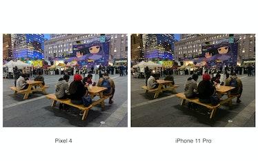 Pixel 4 low-light comparison vs. iPhone 11 Pro